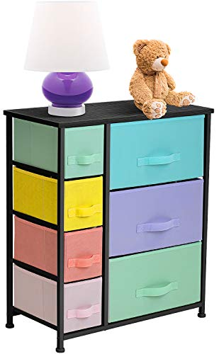 Sorbus Dresser with 7 Drawers - Furniture Storage Chest for Kid's, Teens, Bedroom, Nursery, Playroom, Clothes, Toy Organization - Steel Frame, Wood Top,Fabric Bins (7-Drawer, Pastel/Black)