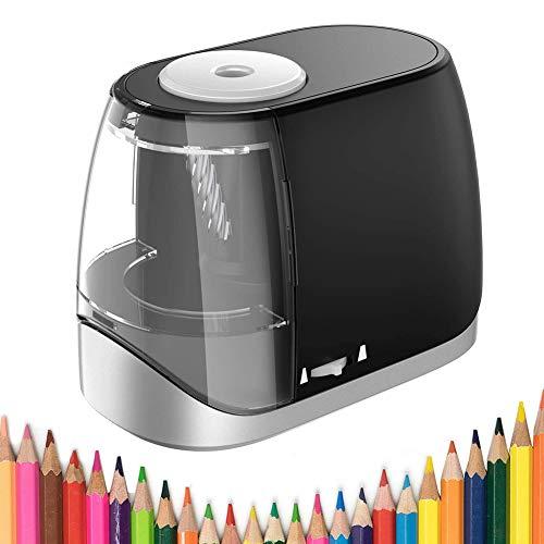 Sacapuntas eléctrico USB eléctrico con batería y USB, función de parada automática, para los niños, para nº 2 y lápices de colores (6-8 mm), color negro
