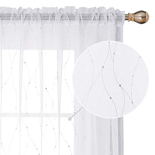Deconovo Rod Pocket White Sheer Curtains 63 Dots Printed Curtains Linen Look Volie Sheer Window Curtain for Bedroom 52W x 63L Silver 2 Panels