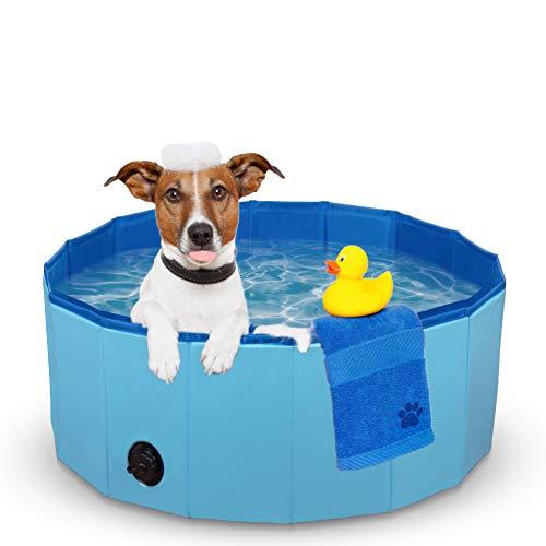 Dono Hundepool Schwimmbad Für Hunde und Katzen Swimmingpool Hund Planschbecken Hundebadewanne Faltbarer Pool PVC rutschfest (80cm(Dia) x 30cm(H))