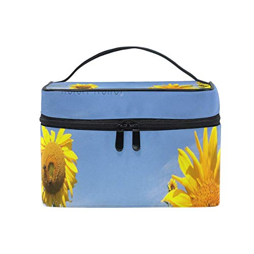 Trousse de maquillage Beautiful Sunflower Quotes Cosmetic Bag Portable Large Toiletry Bag for Women/Girls Travel