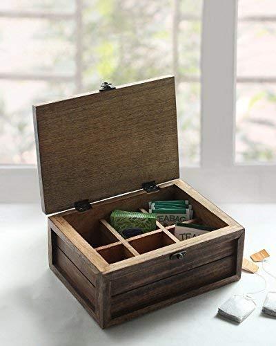 Store Indya Handmade Wooden Tea Box Teabags Holder Chest Organizer with 6 Compartments Storage Box with Bird Design (Design 2)