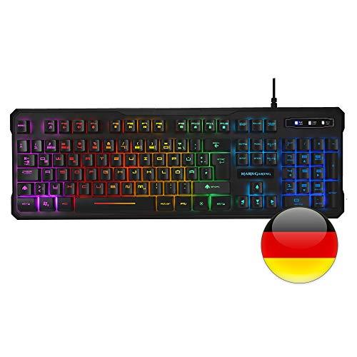 Mars Gaming MK218 Teclado RGB H-Mech, Antighosting, Layout Alemán