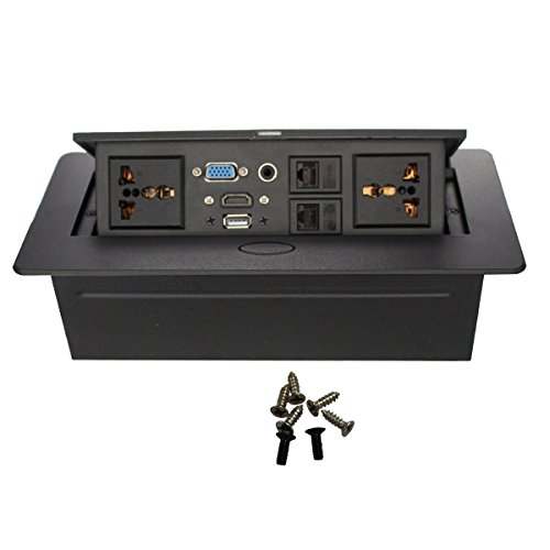 Wiistar Hide-Table Power Data Center - Caja de interconexión HDMI, VGA, RJ45, USB, 3,5 mm