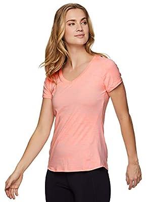 RBX Active Women's Fashion Athletic Performance Short Sleeve Running Yoga V-Neck T-Shirt S-20 Light Orange L