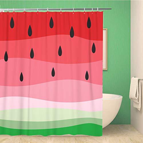 Awowee Decor Duschvorhang, grün, abstrakte Früchte, Bunte Wassermelonen, überlappend, rosa, fruchtig, 180 x 180 cm, Polyester, wasserfest, mit Haken für das Badezimmer