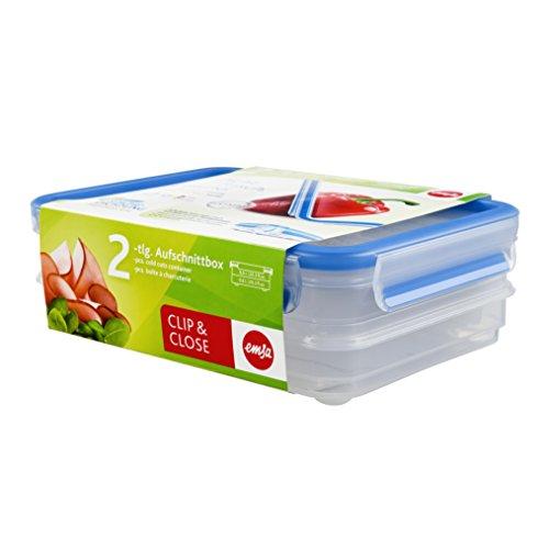 Emsa 513576 Aufschnittbox-System mit Deckel, 0.6 Liter, Transparent/Blau, Clip & Close