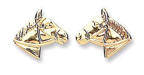 In oro giallo 9 k, orecchini a lobo a forma di cavallo