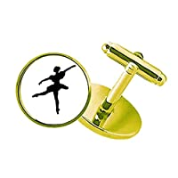 ダンス・バレエ・アート・スポーツ スタッズビジネスシャツメタルカフリンクスゴールド