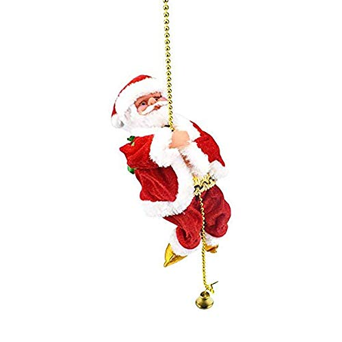 POFET Electric Animated Climbing Santa Claus on Beads Chain Musical Moving Figure Christmas Ornament