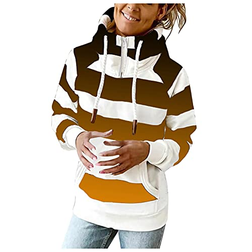 Hoodies Sweatshirts for Women 1/4 Zipper Striped Long Sleeve Casual Hooded Pullover with Pocket for Teen Girls Tops