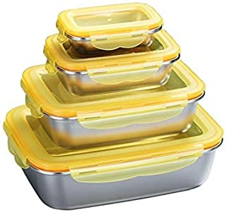 CDPC Bento Box 4 Set 304 Boîte De Rangement en Acier Inoxydable Réfrigérateur Conteneur Alimentaire Bento Articles De Cuis...