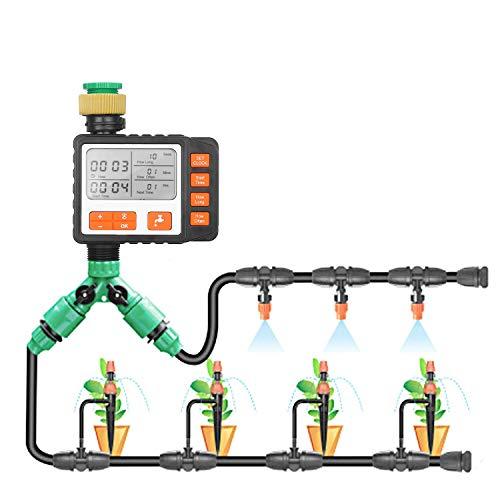 KKmoon® - Programador de riego automático con control de sistema de riego de temporizador de grifo de agua automático de salida única programable con pantalla de 3 pulgadas en modo manual