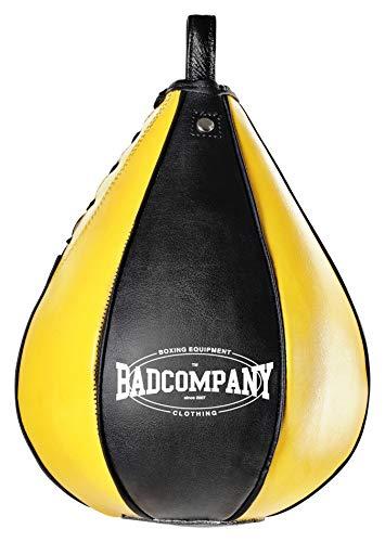 Profi PU Boxbirne medium schwarz / gelb - PU Speedball im 6 Elementen Design