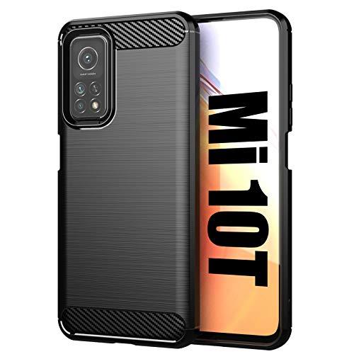 Jusy Case for Xiaomi Mi 10t / Mi 10t Pro/Redmi K30s Case with Anti-Fingerprint Design, Carbon Fiber Style Soft TPU Shockproof Cover for Xiaomi Mi 10t / Mi 10t Pro/Redmi K30s (Black)