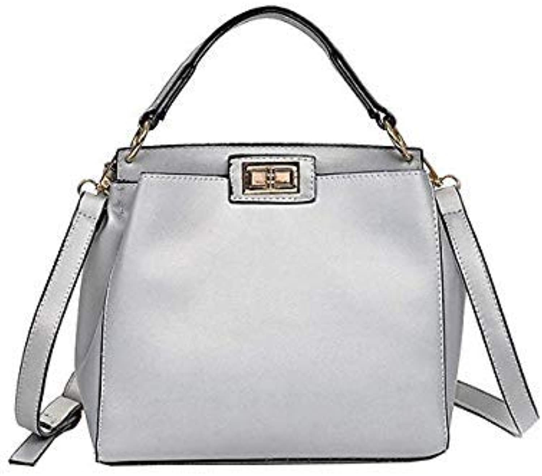 Bloomerang HIINSTFashion Women Pure color Shoulder Bag Hand Bag Satchel Tote Crossbody Bag Leather Shoulder Bag L710 color Siliver