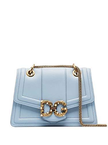 Luxury Fashion | Dolce E Gabbana Dames BB6676AK29580606 Blauw Leer Schoudertassen | Lente-zomer 20