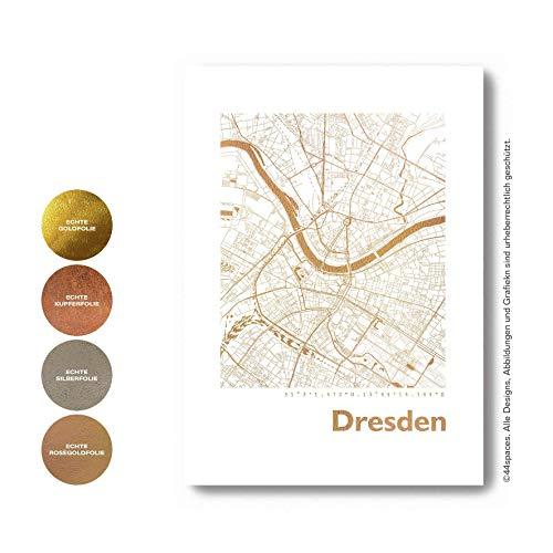 Dresden Wandbild Stadtposter Stadtplan Eckig - Wähle aus Rose Gold Silber Kupfer - A4 A3, Personaliserte City Map Einweihungsgeschenk Dekoration Wand-Deko Wohnzimmer Andenken Heimatstadt