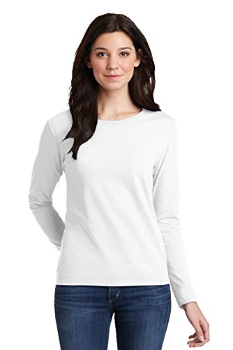 Gildan Heavy Cotton Ladies Long Sleeve Tee, White, Large