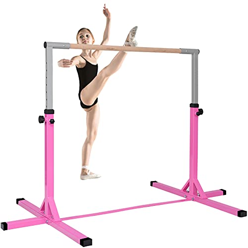 C-CHAIN Gymnastics Junior Training Bar Professional, Gymnastics Bar Adjustable Height 35'-59', Kids Kip Training Bars for Home and Indoor, Gymnasts 1-4 Levels, 250lbs Weight Capacity (Pink)