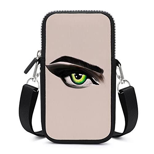 Bolso bandolera para teléfono móvil con correa de hombro extraíble Ojos verde a prueba de sudor bolsa para llave muñeca cartera Yoga Bolsas hombres