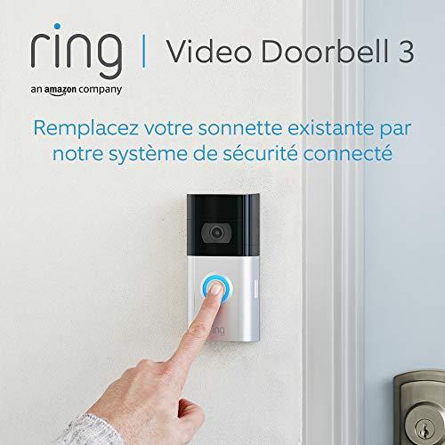 Nouvelle Ring Video Doorbell 3 | Vidéo HD, détection de mouvements personnalisable et installation facile | Essai gratuit de 30 jours à l'abonnement Ring Protect inclus