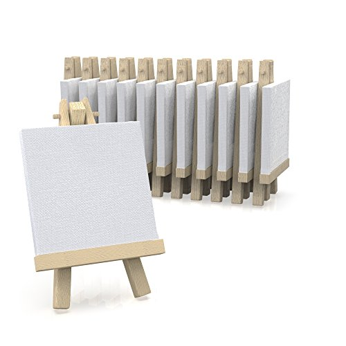 3'x3' Canvas for Painting with Easel, Academy Art Supplies (12 Pack)