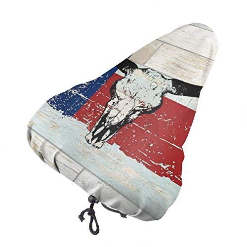 LYMT Funda sillin para Bicicleta, Impermeable y Anti-Polvo Sillín Cubre Bicicleta Cráneo de Toro de la Bandera de Texas del Estado Estadounidense