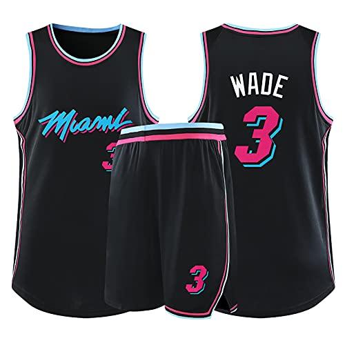 Camiseta de Baloncesto de la Leyenda de la NBA para Hombre - Miami Heat # 3 Dwyane Wade Uniforme de Baloncesto City Edition Camisa Bordada Chaleco Conjunto de Pantalones Cortos, Black-3XL (175~180cm)