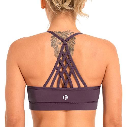 coastal rose Women's Strappy Sport Bra Racerback Padded Supportive Workout Yoga Bra Top US L BlackBerry Cordial