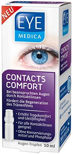 EyeMedica Contacts Comfort, Augentropfen bei beanspruchten Augen durch das Tragen von Kontaktlinsen, fördert die Regeneration des Tränenfilms bei gereizten Augen, 10 ml Flasche