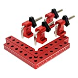 """QWORK 2Pcs 90 Degree Positioning Squares Right Angle Clamps Fixing Clamp, 5.5"""" x 5.5""""(14 x 14cm), Aluminum Alloy Woodworking Carpenter Tool for Box Cabinets Drawers Picture Flame"""