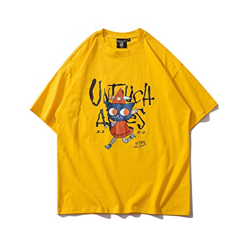 DREAMING-Graffiti Abstracto con Sudadera de Manga Corta de Verano, Camiseta de algodón con Cuello Redondo y Estampado Suelto, Camiseta de Pareja para Hombres y Mujeres S