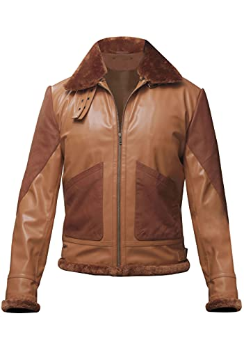 TIPTOP Natist piel de oveja sintética piel de oveja chaqueta para hombres cuero genuino negro y marrón color invierno abrigo