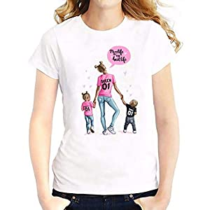 YAnGSale Top Women Blouse Mom Kids Printed Tee Tops Novelty T-Shirt Mother Themed Shirt Pullover Family Wear Birthday Gift (Pink, S)