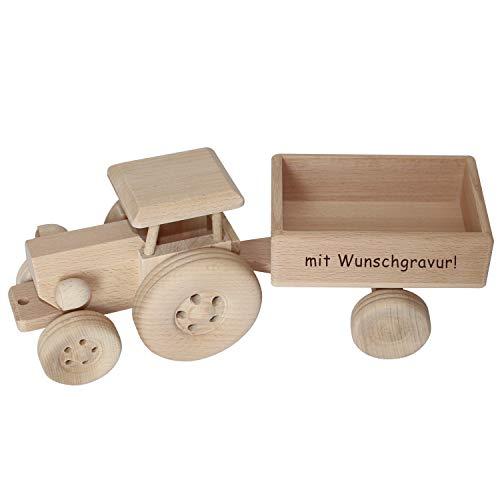 Geschenkissimo Traktor mit Anhänger - personalisiert mit Name - Spielzeug Trecker aus Holz mit Gravur für Kinder - Holzspielzeug, Deko, Geburtstagsgeschenk, Kindergeschenk