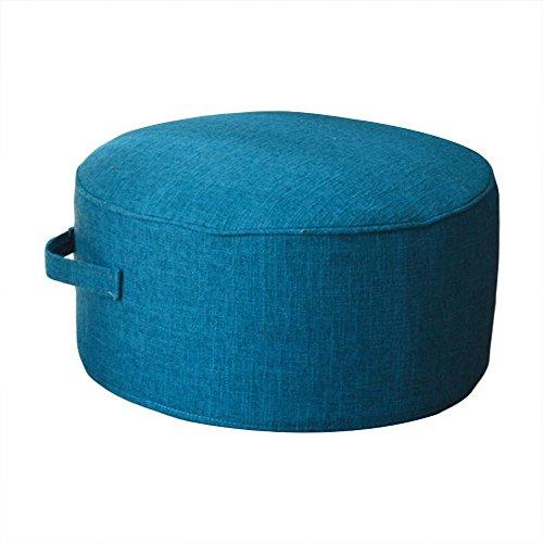 (布トイ)cloth toy 綿麻 畳 座布団 ホーム 茶道 床 踏み台 取り外し自由 布 椅子 直径40cm*高20cm (ダークブルー)