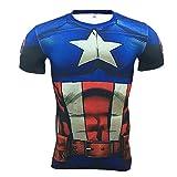 Cosfunmax Superhero Captain Team Leader Compression Shirt Sports Gym Ruining Base Layer S