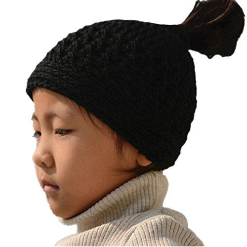 Tinacrochetstudio Crochet Messy Bun Hats Ponytail Beanie ( Teen and Adult, Black)
