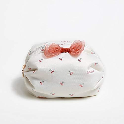 Exepests Sac de rangement for dames imperméable Bow Fruit Motif de broderie Sac de cosmétique Maille Sweet Girl Finition Paquet Petit Sac de Transport Deux Couleurs En Option (Color : White)