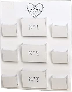 Wandboard aus Metall Postsammler mit 9 Fächern weiß