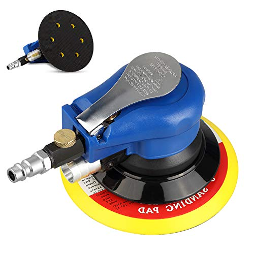 6  Air Random Orbital Sander Dual Action Pneumatic Palm Sander with Speed Regulation with 7 Pcs of Sand Paper