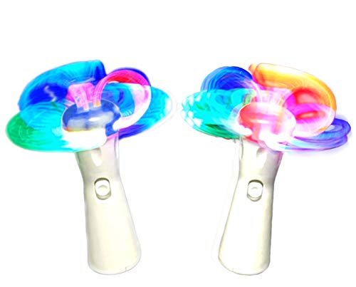 WeGlow - Spinning Light Up Wand - Illuminating LED Spin Kids Toy - Fun Stuffers for Goodie Bags, Birthday Party Favors, Carnival Prize - Batteries Included - 2 Pack