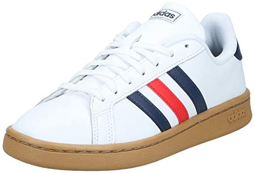 adidas Mens Grand Court Sneaker, Cloud White/Trace Blue/Active Red, 43 1/3 EU