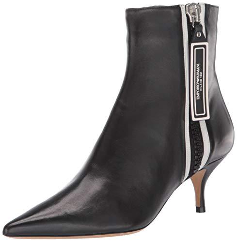 Emporio Armani Damen Ankle Boot modischer Stiefel, schwarz/weiß, 38.5 EU