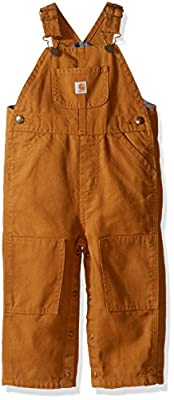 Carhartt Baby Boys' Canvas Overall Flannel Lined, Brown, 12 Months