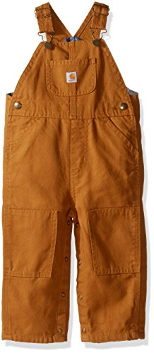 Carhartt Little Boys' Washed Canvas Flannel Lined Bib Overall, Carhartt Brown, 3T