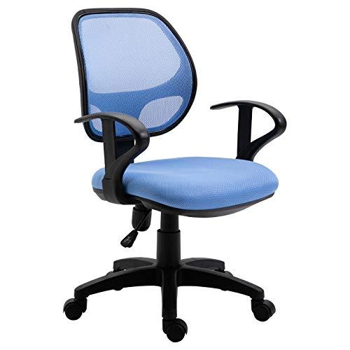 IDIMEX Kinderdrehstuhl Schreibtischstuhl Drehstuhl Bürodrehstuh COOL, 5 Doppelrollen, Sitzpolsterung, Armlehnen, in hellblau