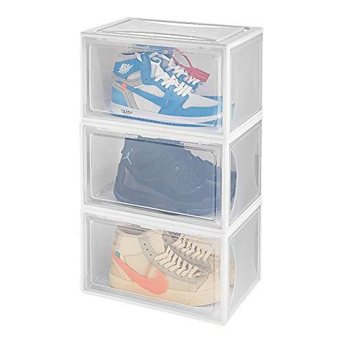 Yorbay Schuhbox, 3er Set, stapelbarer Schuhorganizer, Kunststoffbox mit durchsichtiger Tür, Mehrweg Schuhaufbewahrung, 37 x25 x 20.5cm, für Schuhe bis Größe 48, Weiß