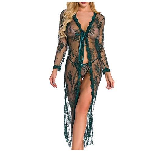 LoveLeiter Damen Sexy Dessous Mesh Spitze Kleid Negligee Kimono Robe Set Durchsichtig Unterwäsche Nachtwäsche Langes Spitzenkleid Kimono Cardigan Cover up